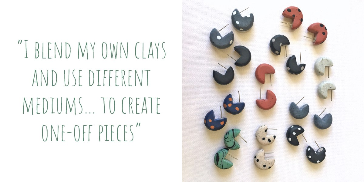 "Some of Melinda's early stud earrings: ""I blend my own clays and use different mediums… to create one-off pieces"""