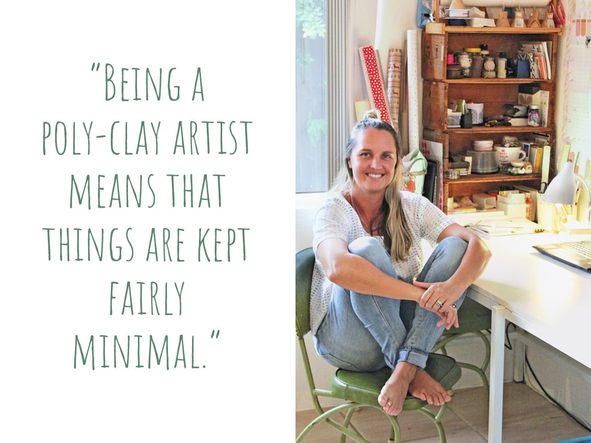 "Melinda in her craft corner, ""Being a poly-clay artist means that things are kept fairly minimal."""