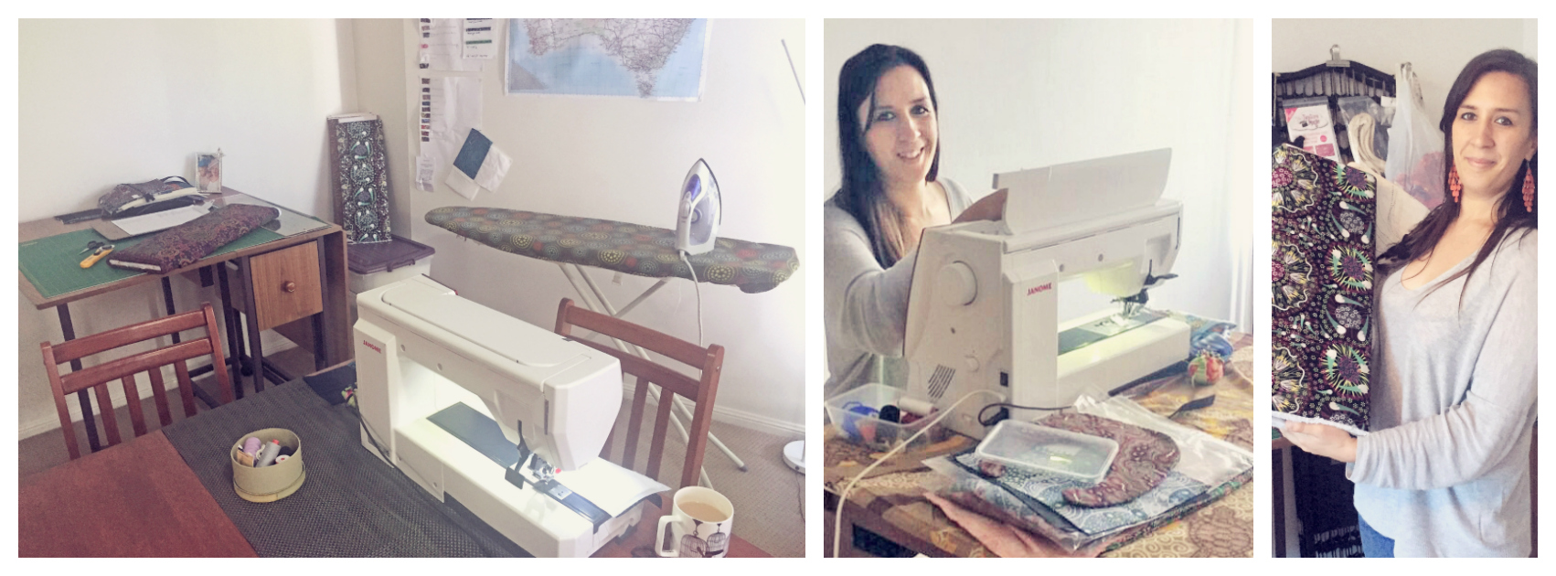 Orla's home workspace, Orla at work at the sewing machine, and Orla with a prized Australian indigenous fabric.'