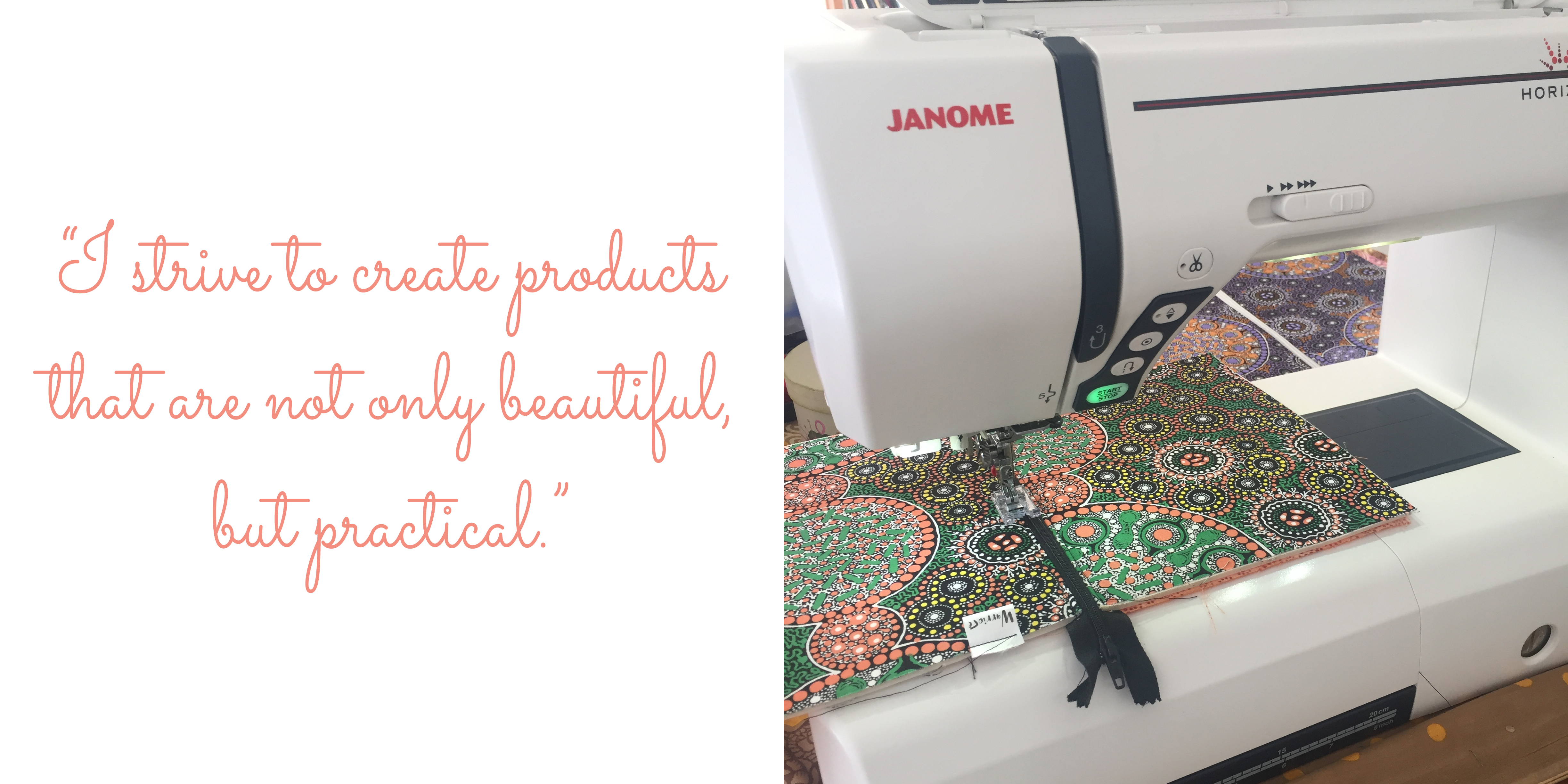 A coin purse in progress: 'I strive to create products that are not only beautiful, but practical.'