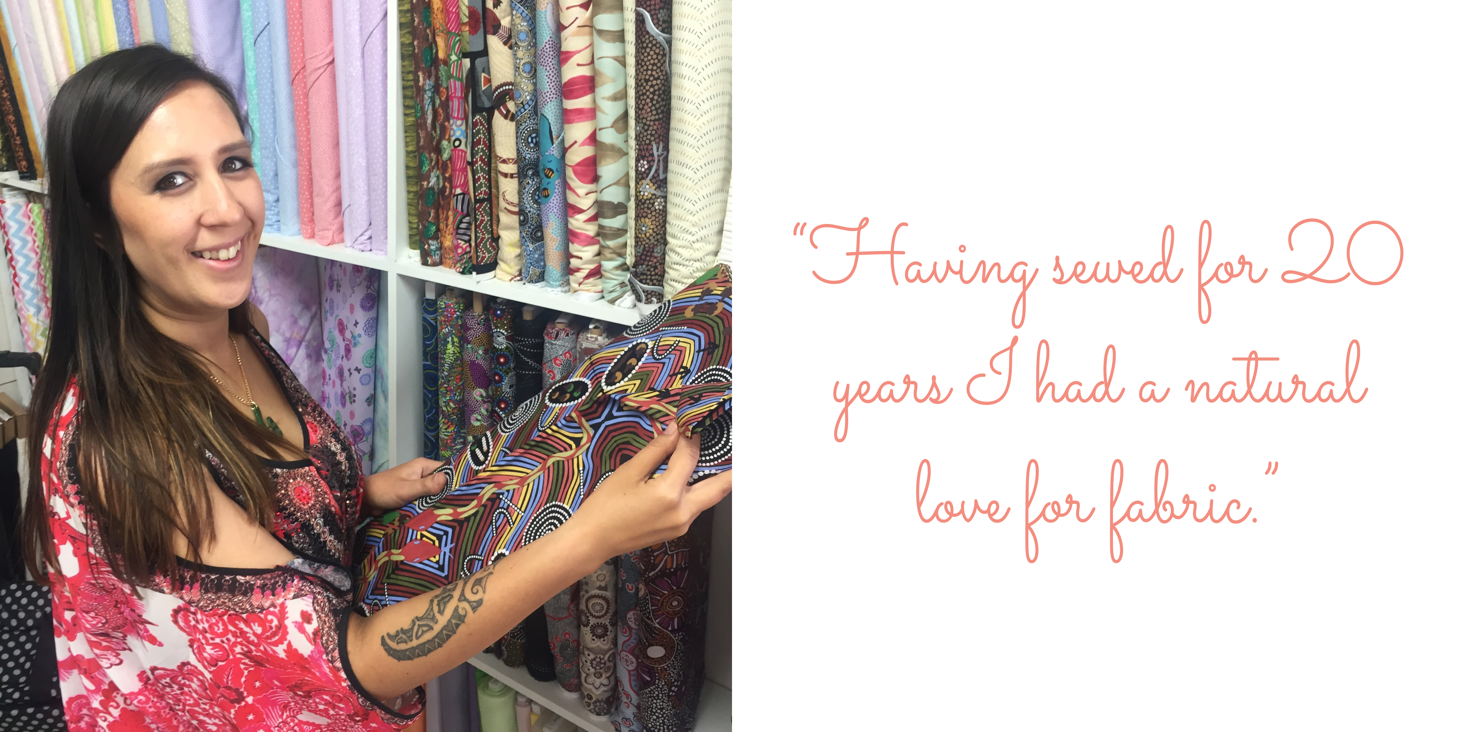 Orla sourcing indigenous fabrics at her favourite store in Mount Isa: 'Having sewed for 20 years I had a natural love for fabric.'