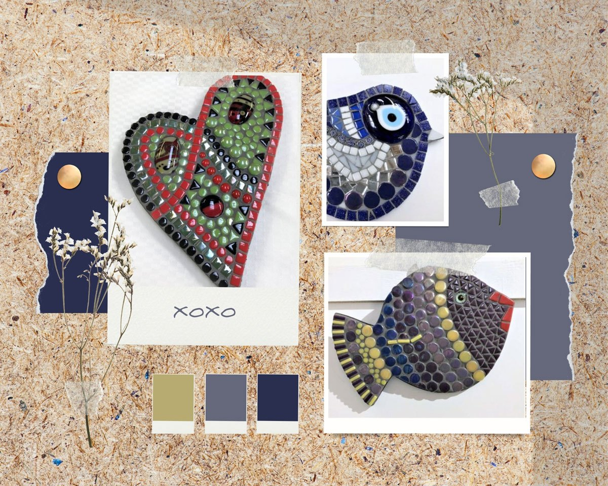 Mood board displaying some of Diane's mosaic works including a bird, a fish, and an abstract love heart