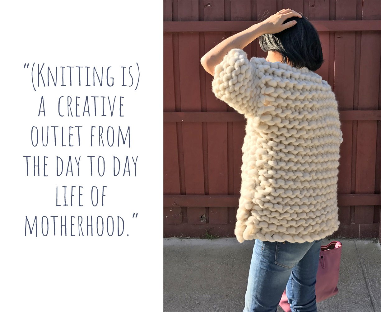 "Samantha modelling her Australian merino wool chunky knit women's jacket: ""(Knitting is) a creative outlet from the day to day life of motherhood."""