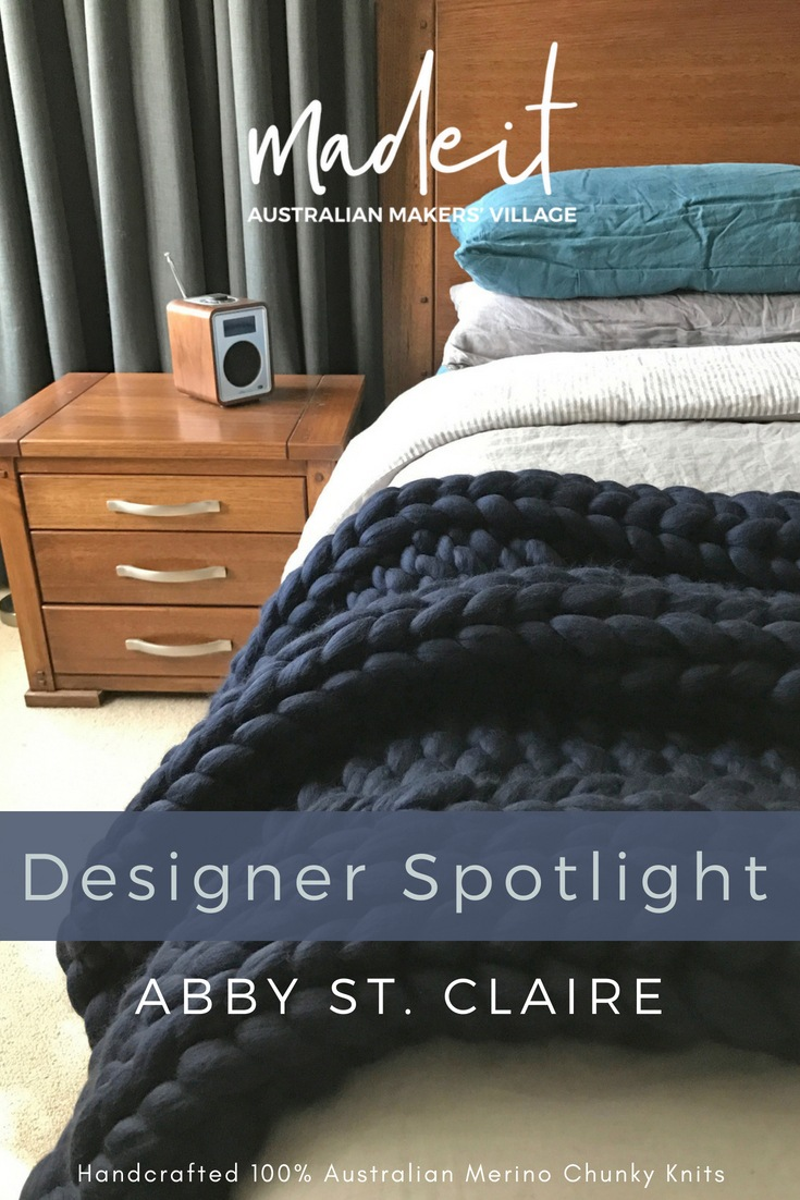 Natural born knitter, strengthened by family, Samantha knits comfy, modern chunky merino blankets and homewares