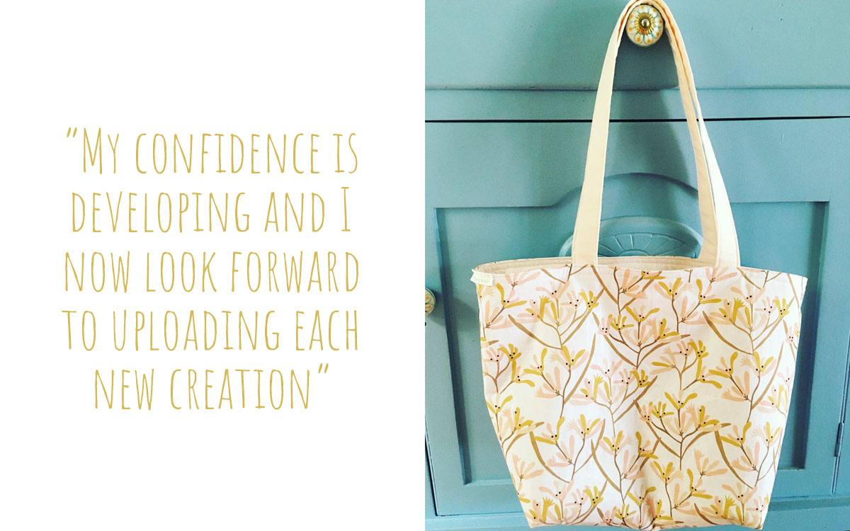 A Banksia and Bloom tote bag hanging on a cabinet drawer handle: 'My confidence is developing and I now look forward to uploading each new creation'