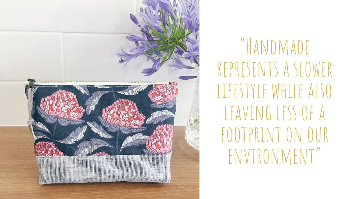 A Banksia and Bloom warratahs print fabric pouch: 'Handmade represents a slower lifestyle while also leaving less of a footprint on our environment