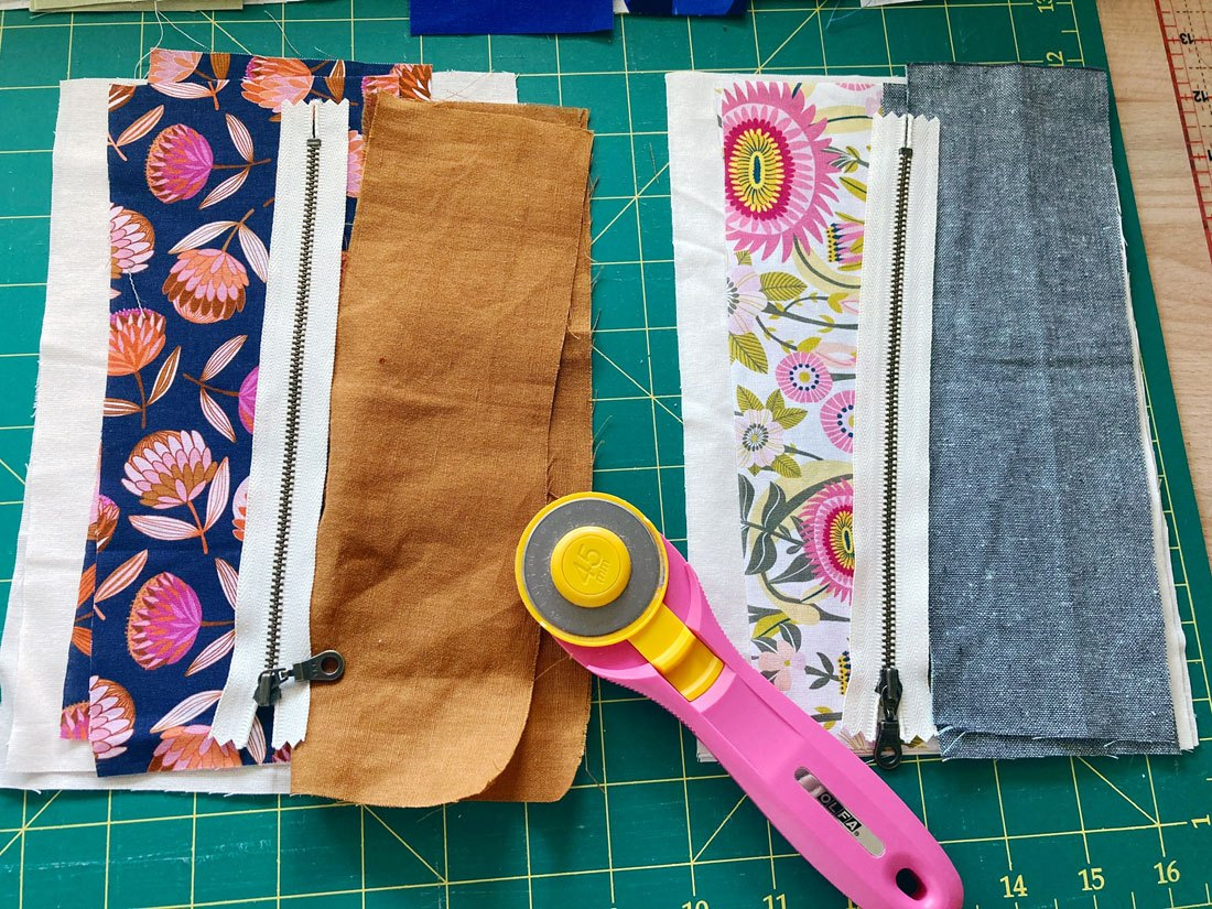 Banksia and Bloom pouch zippers in progress