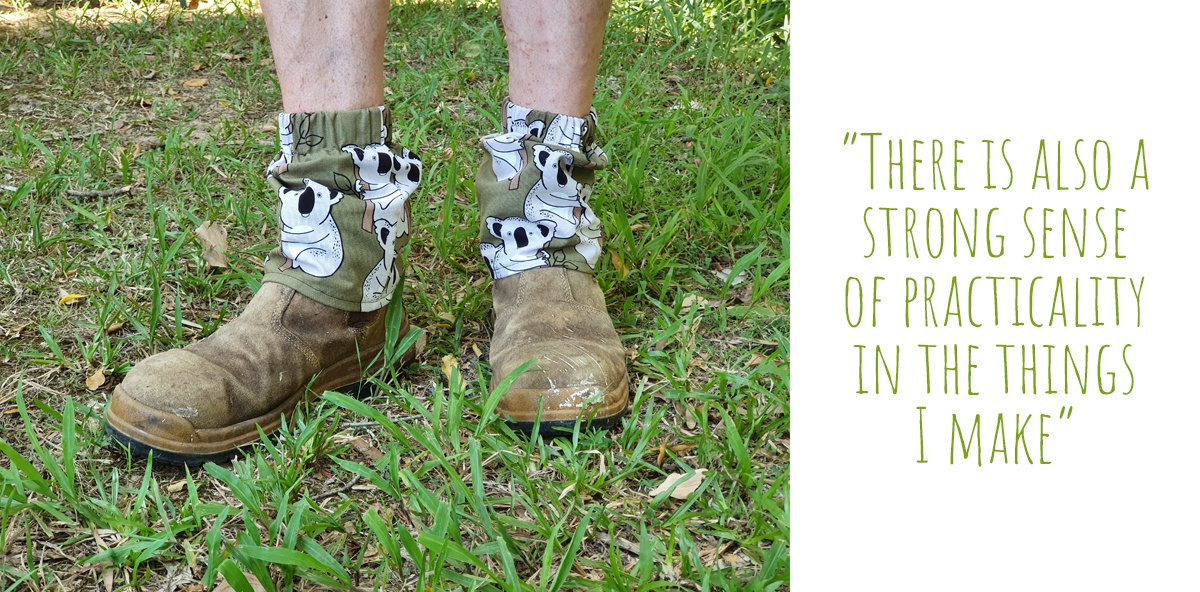 Green koala print sock covers on a pair of workboot-clad feet: 'there is also a strong sense of practicality in the things I make'