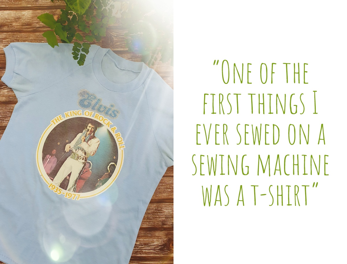Marceliena's first project from aged 9, a blue t-shirt to which she applied an Elvis iron-on transfer print; 'One of the first things I ever sewed on a sewing machine was a t-shirt'