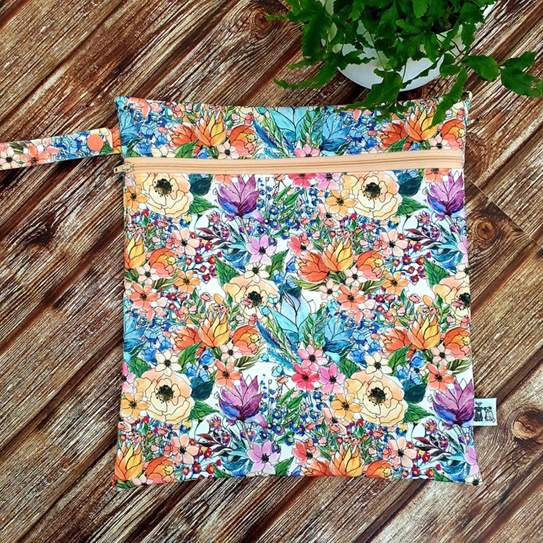 Bright floral wet bag by Birdy & the Boys