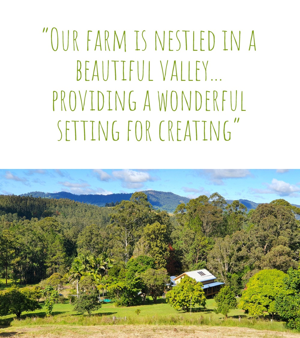 Marceliena's farm homestead nestled in a green valley neighbouring Nightcap National Park in northern New South Wales: 'Our farm is nestled in a beautiful valley… providing a wonderful setting for creating'