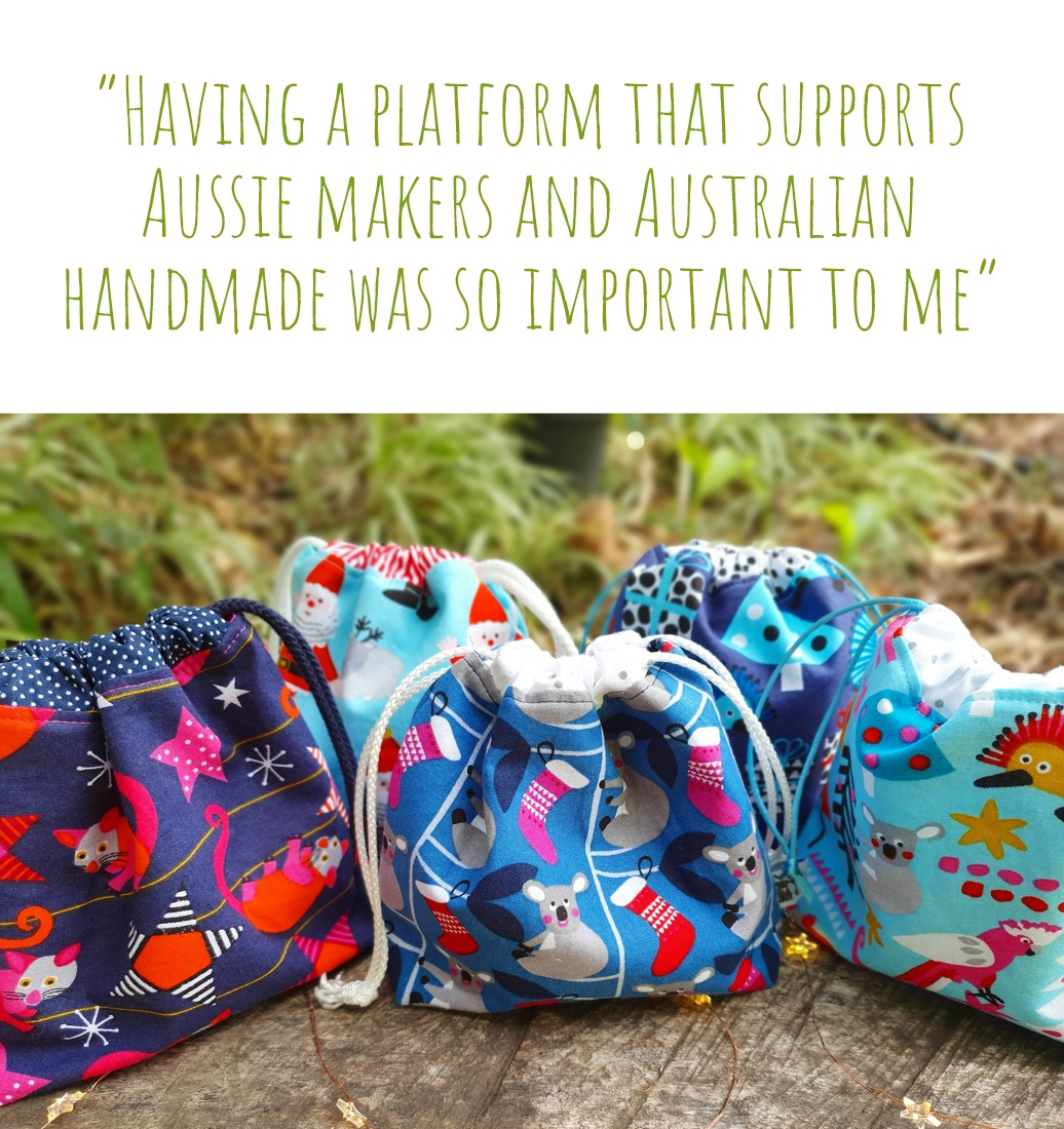 A selection of Australian Christmas print drawstring bags by Birdy & the Boys; 'Having a platform that supports Aussie makers and Australian handmade was so important to me'