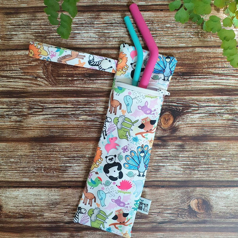 Reusable cutlery pouch in whimsical animal print by Birdy & the Boys