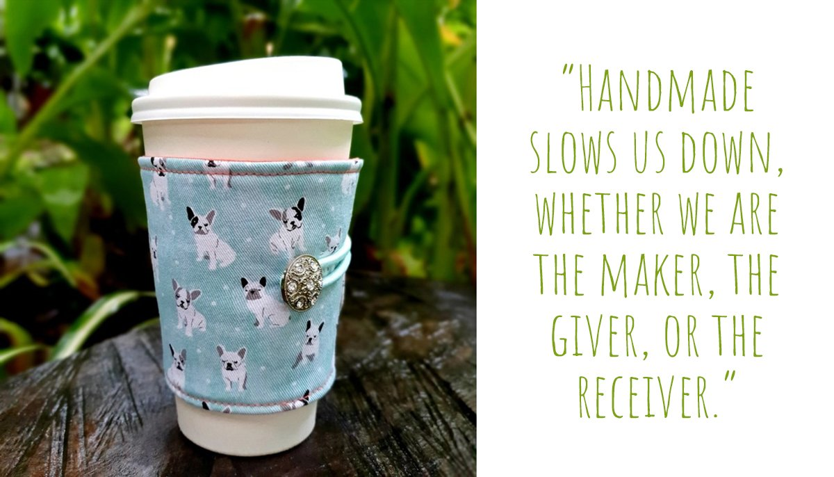 Handmade pale blue fabric cup cosy in cute French bulldog print with bling- button detail by Birdy & The : 'Handmade slows us down, whether we are the maker, the giver, or the receiver'
