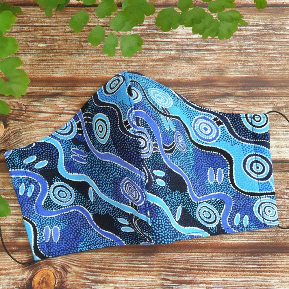 Blue indigenous print women's fabric face mask