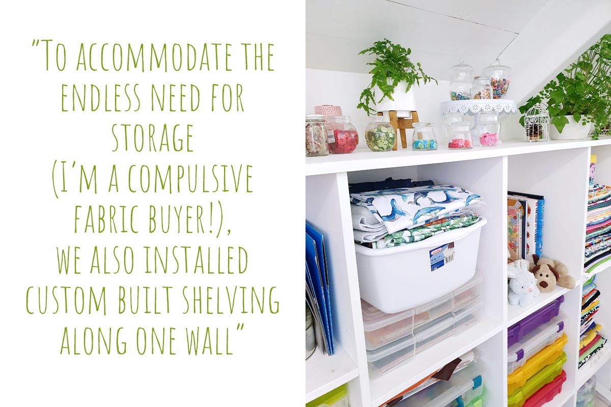 Organised craft supplies in Marceliena's home studio shelving: 'To accommodate the endless need for storage (I'm a compulsive fabric Buyer!), we also installed custom built shelving along one wall'
