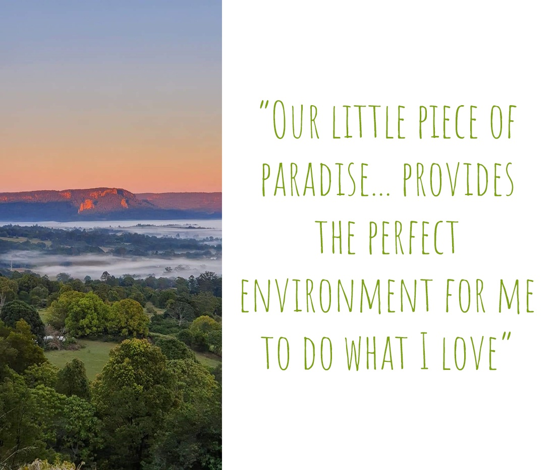 A stunning view across a cloud-covered valley at sunset in Northern NSW: 'Our little piece of paradise… provides the perfect environment for me to do what I love'