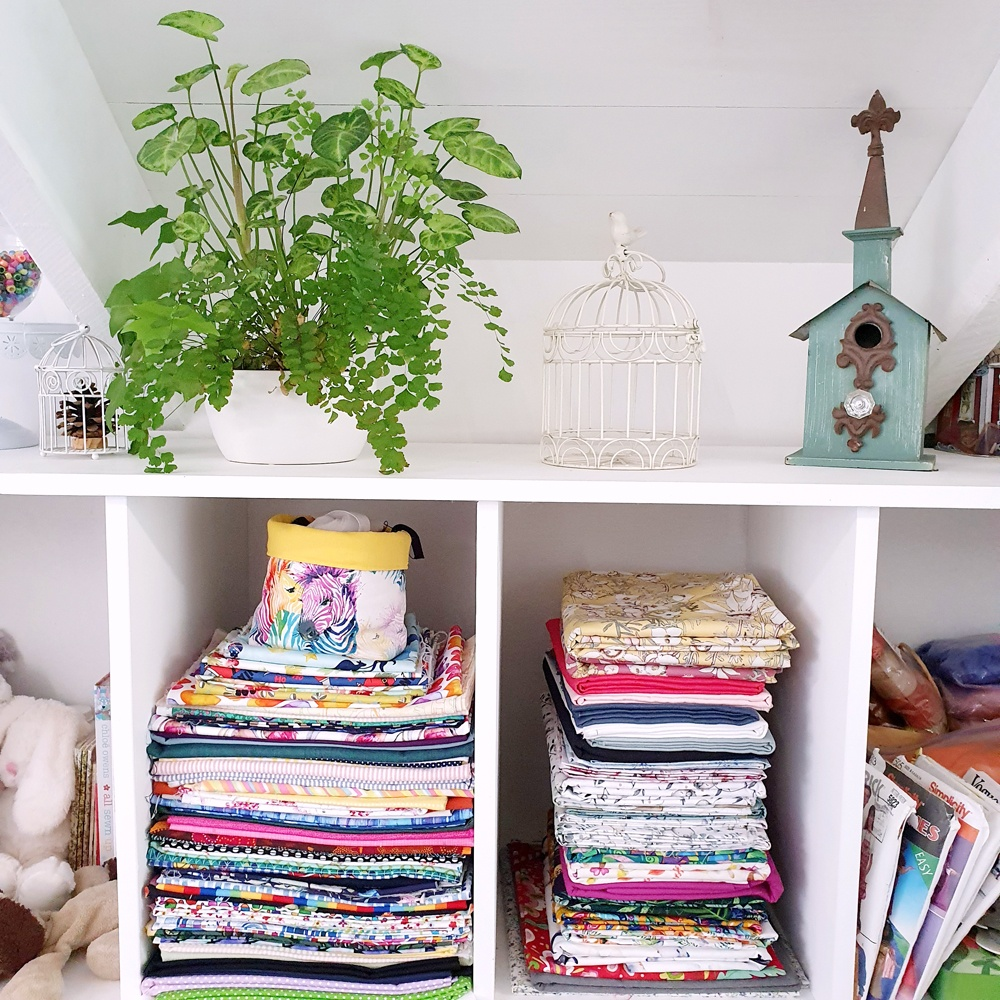 Some of Marceliena's fabric stash in her home studio