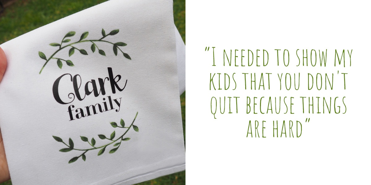 Personalised 'Clark Family' wreath tea towel by Bumblebee Creative; 'I needed to show my kids that you don't quit because things are hard'