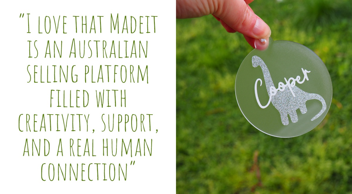 A personalised sparkly dinosaur Christmas bauble by Bumblebee Creative; 'I love that Madeit is an Australian selling platform filled with creativity, support, and a real human connection'