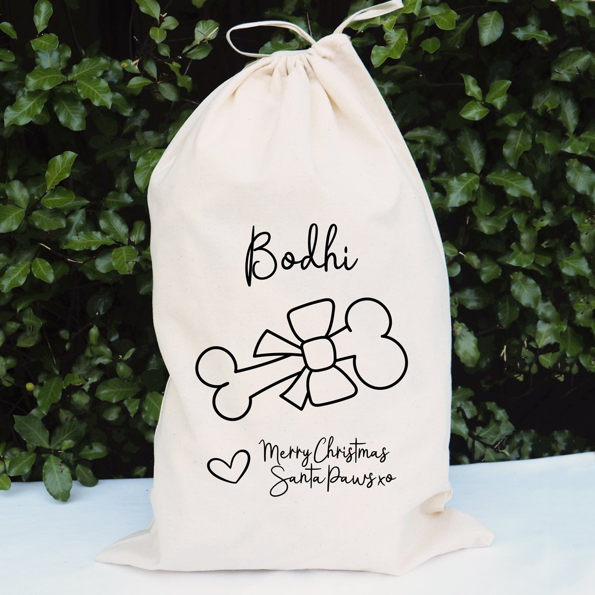 Personalised pet's name Santa Sack 'Merry Christmas from Santa Paws'