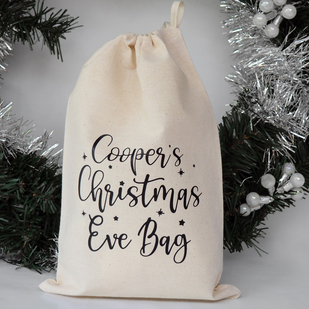 Part of Bumblebee Creative's Christmas range; a personalised calico Christmas Eve bag / Santa sack