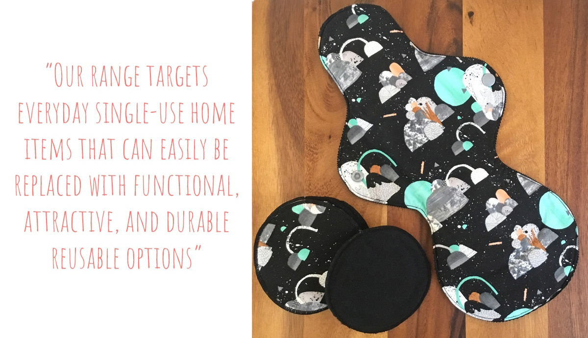 Laura Blythman print Reusable postpartum pad and breast pads from the Bird in Milk range: 'Our range targets everyday single-use home items that can easily be replaced with functional, attractive, and durable reusable options'