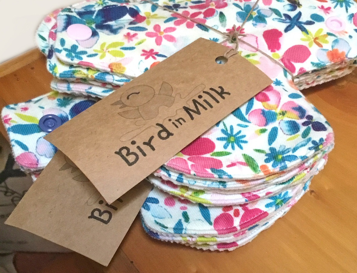 Floral print fabric pads in Bird in Milk home made labels