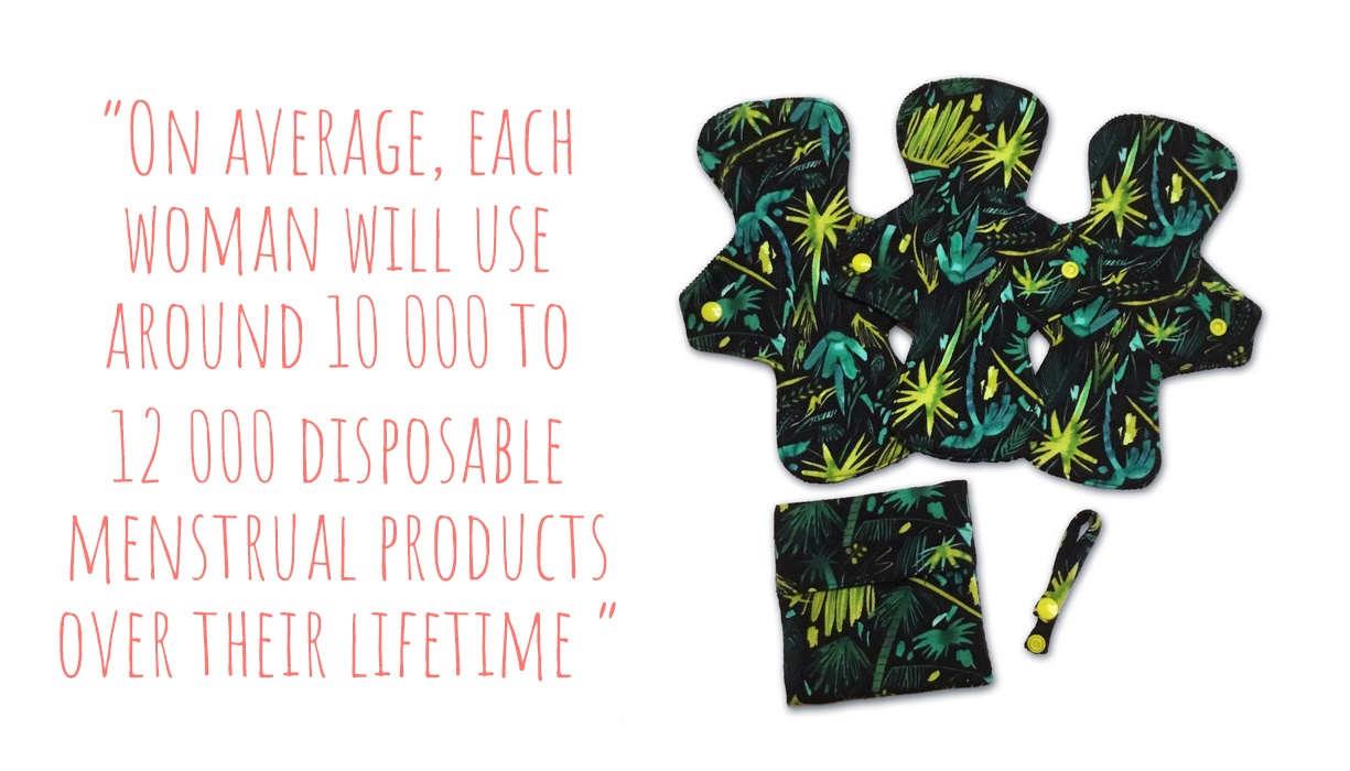 Bird in Milk reusable cloth pad set with drying strap and reusable pad wrapper; 'on average, each woman will use around 10,000 to 12,000 disposable menstrual products over their lifetime'