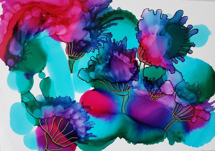 Erupting Floral original alcohol ink artwork in jewel tones
