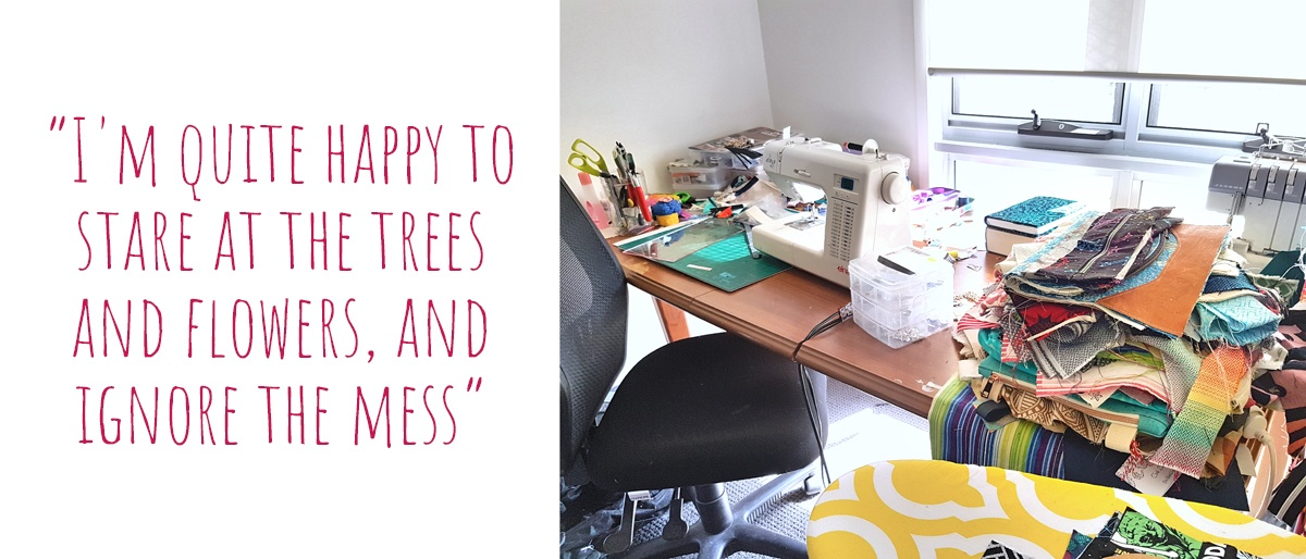 Creative chaos in the form of piles of fabric and half constructed bags adorn Belinda's bright an sunny living room sewing corner: I'm quite happy to stare at the trees and flowers, and ignore the mess