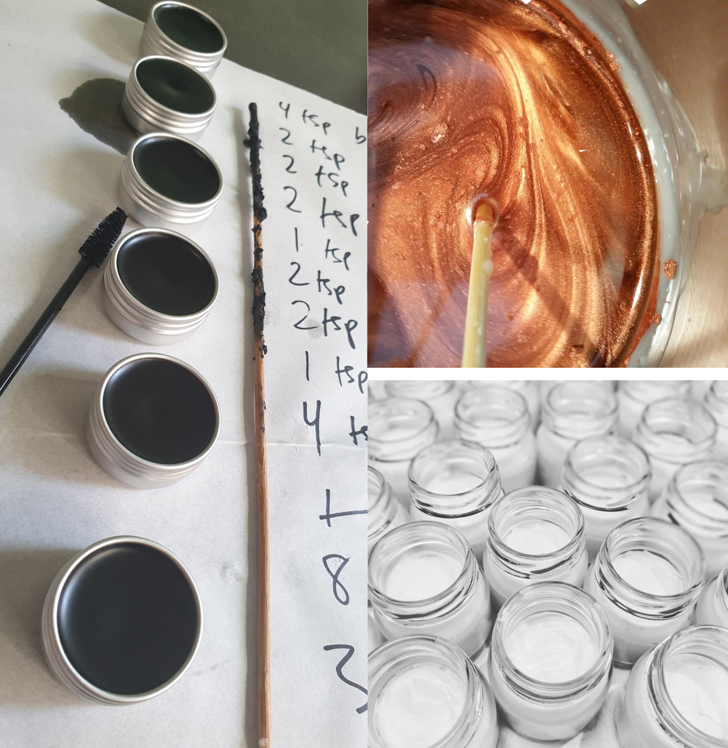 Hand measuring, mixing and pouring handmade skincare concoctions