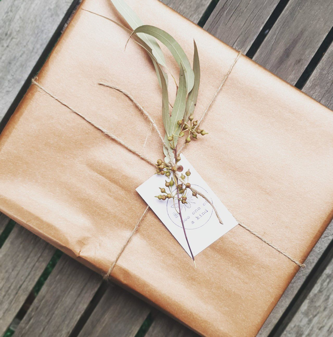 Bee one of a kind natural skincare products, beautifully wrapped in sustainable brown paper and string with a touch of nature'