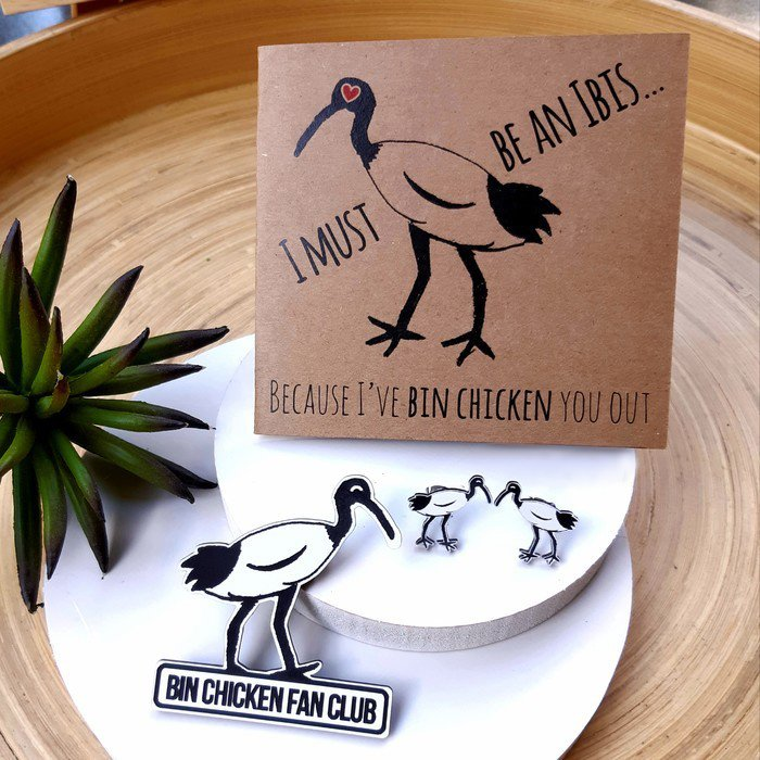 Some of betina-RAHH's collection of cult-favourite Bin Chicken ibis jewellery and humorous greeting cards