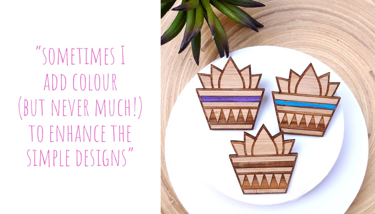 Three lasercut bamboo succulents in natural, purple, and blue: 'Sometimes I add colour (but never much!) to enhance the simple designs'