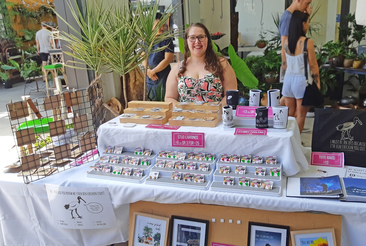 Betina and some of her handmade collection at a local Brisbane market