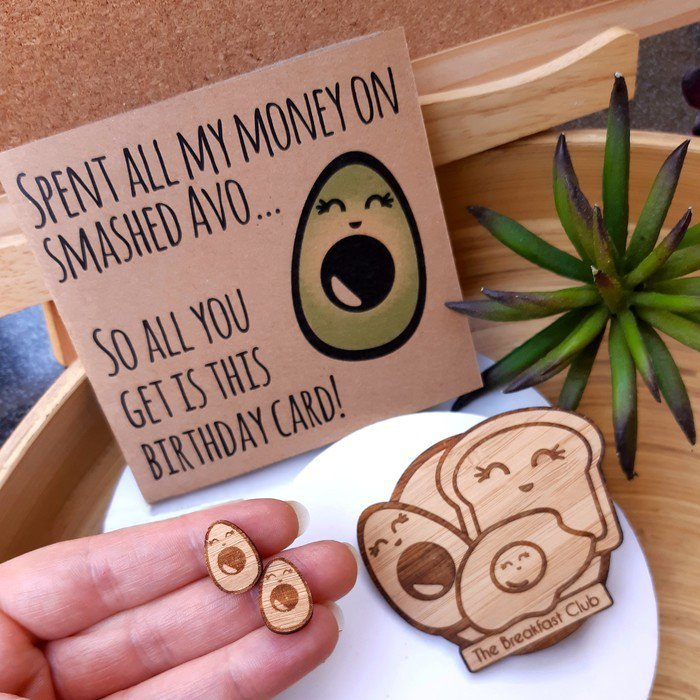 Some of the betina-RAHH kawai avocado pun range of jewellery and greeting cards