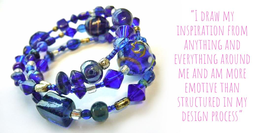 A blue glass beaded wrap bracelet by betina-RAHH: 'I draw my inspiration from anything and everything around me and am more emotive than structured in my design process'