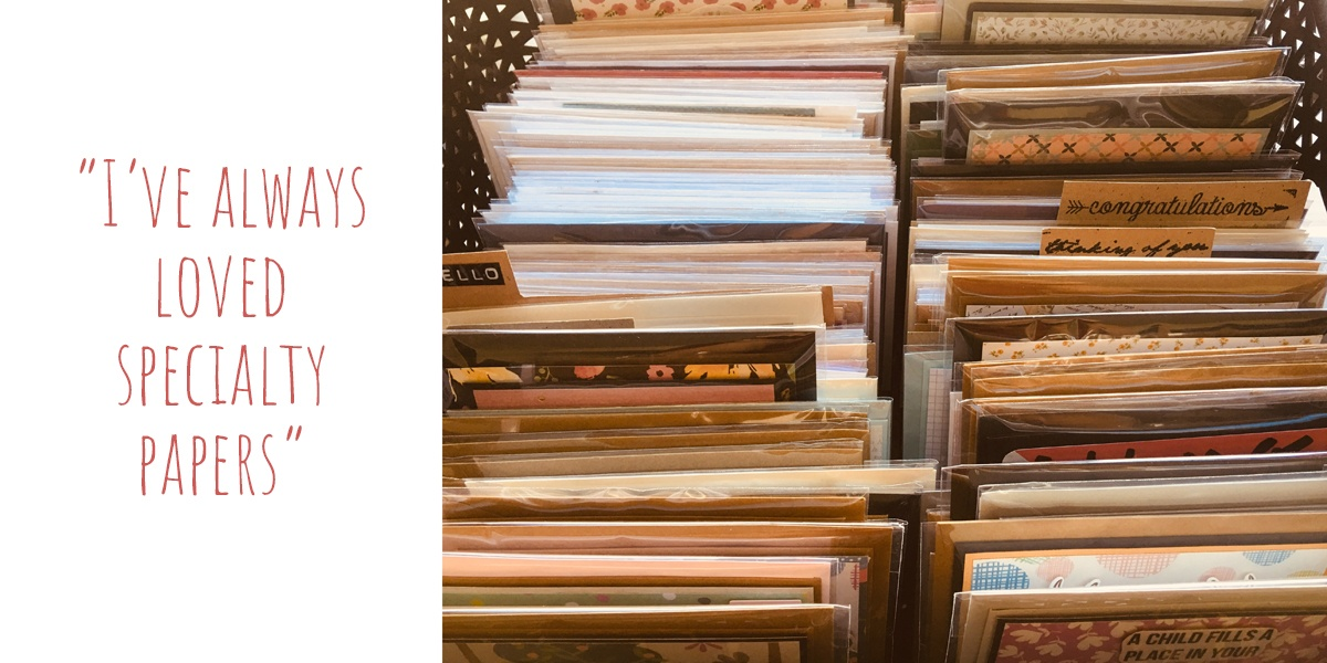 Just some of Carolyn's range of handmade cards: 'I've always loved specialty papers'
