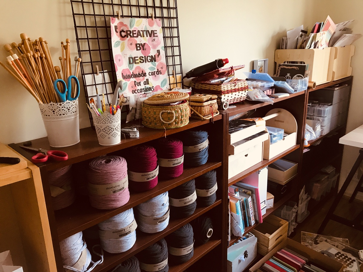 An ever-expanding range of craft supplies, tools and books in Carolyn's home craft room