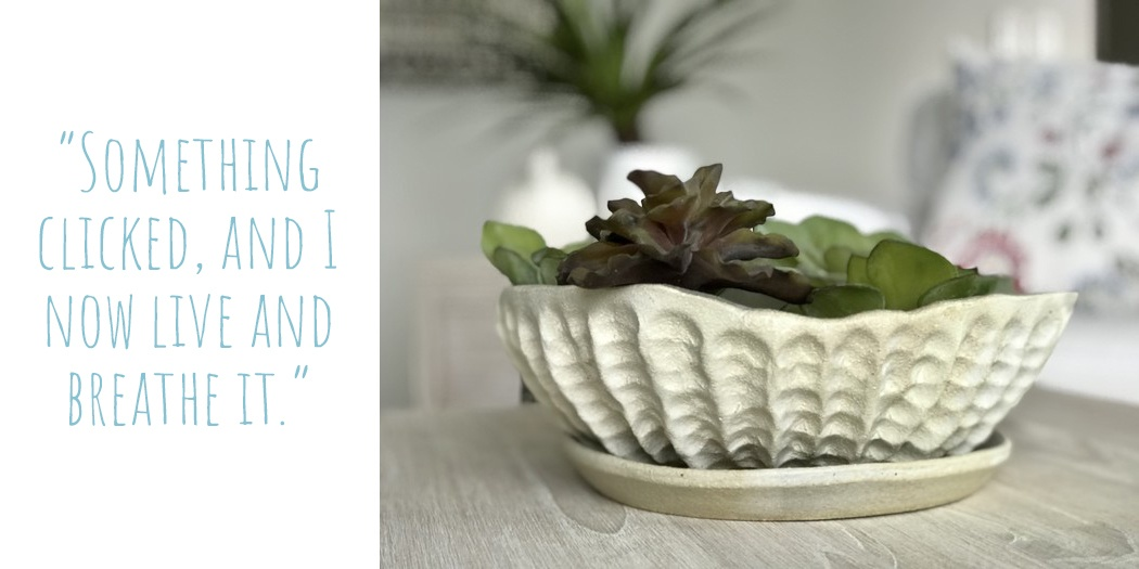 A ceramic planter by ClayPress Ceramics that resembles ridges of coral; 'something clicked, and I now live and breathe it'