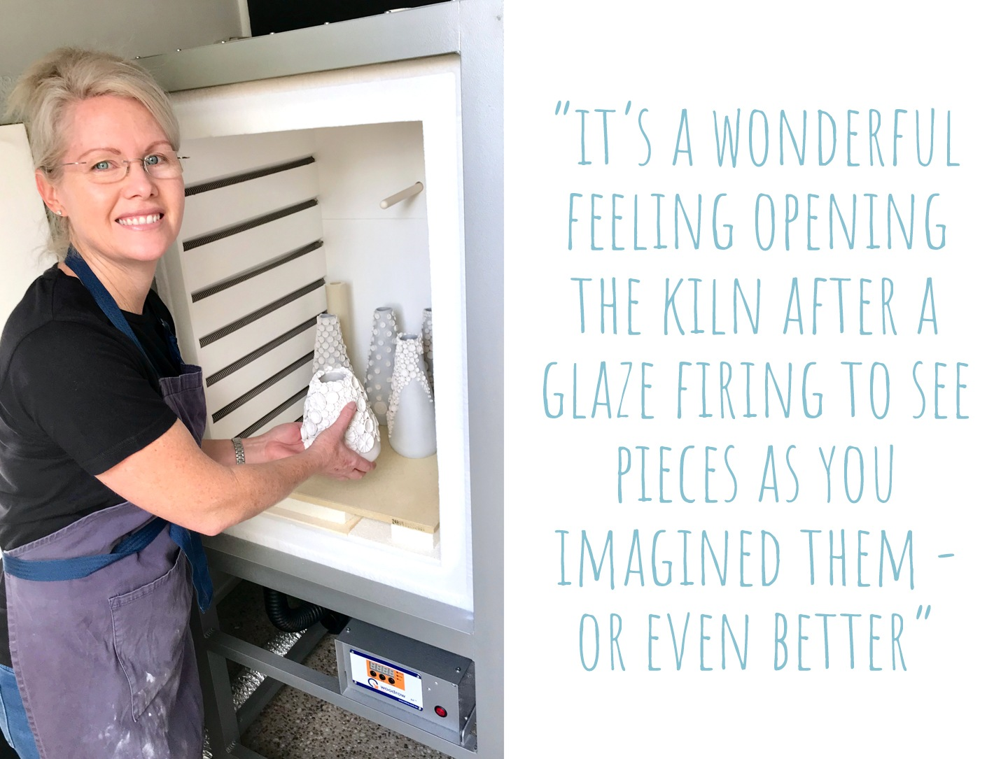Nicole adding ceramic vases to her home kiln; 'It's a wonderful feeling opening the kiln after a glaze firing to see pieces as you imagined them – or even better'