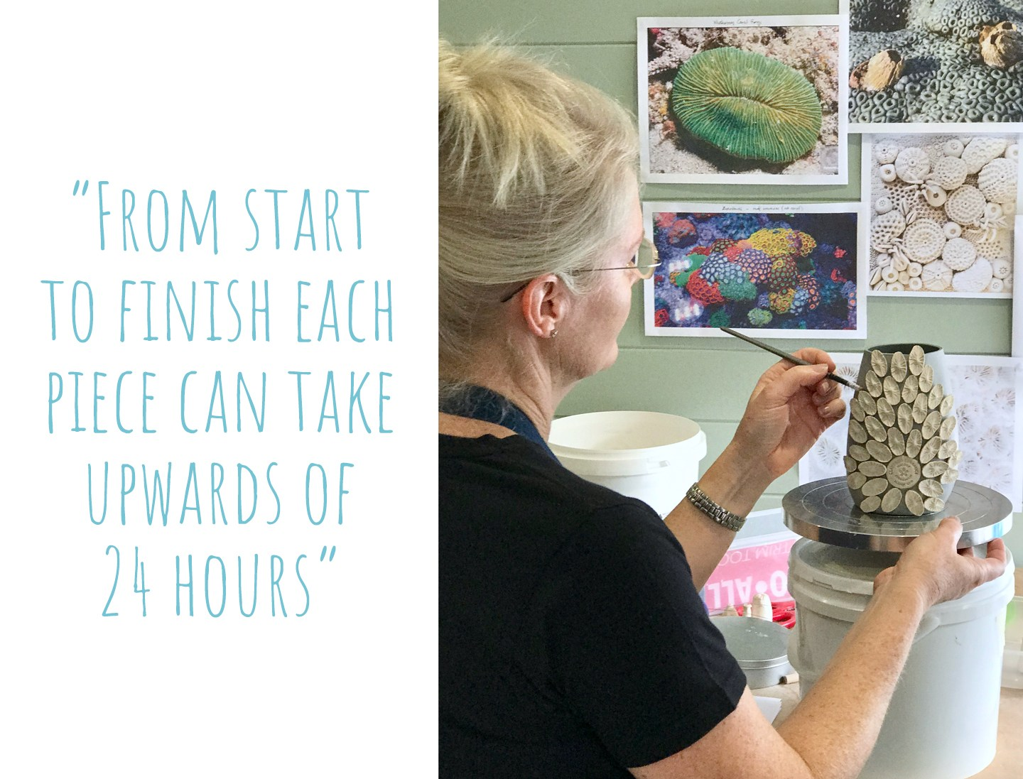 Nicole adding decorative touches to another ceramic vase in her home studio; 'From start to finish each piece can take upwards of 24 hours'
