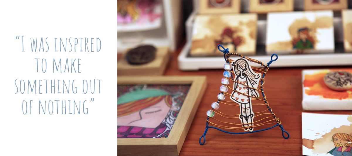 Cute girl illustration in a handmade wire frame by dentanARTS: 'I was inspired to make something out of nothing'