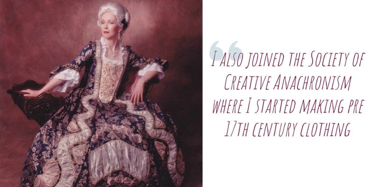 Terry modelling the 1776 Georgian gown that won her Best Master at the Australian branch of the International Costumers Guild Ball in Melbourne in 1997: 'I also joined the Society of Creative Anachronism' where I started making pre 17th century clothing'