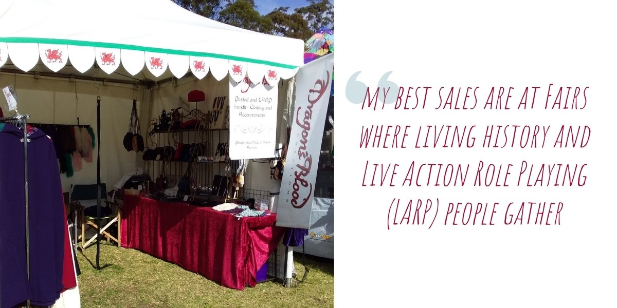 Terry's Dragon's Blood Creations stall at one of her many medieval fairs: 'my best sales are at fairs where living history and Live Action Role Playing (LARP) people gather'