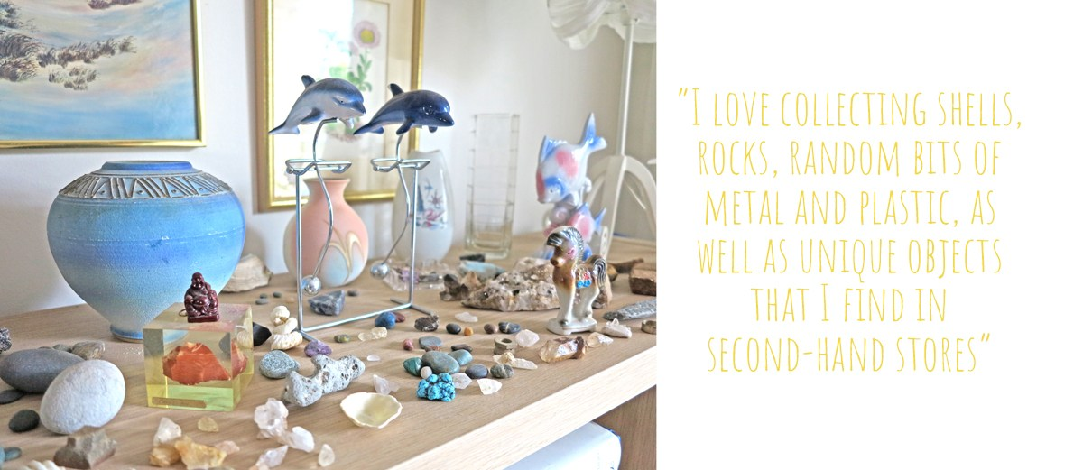 Closeup of a vignette of Matea's collected inspiration including rocks, shells, and second hand art and objects: 'I love collecting shells, rocks, random bits of metal and plastic, as well as unique objects that I find in second-hand stores