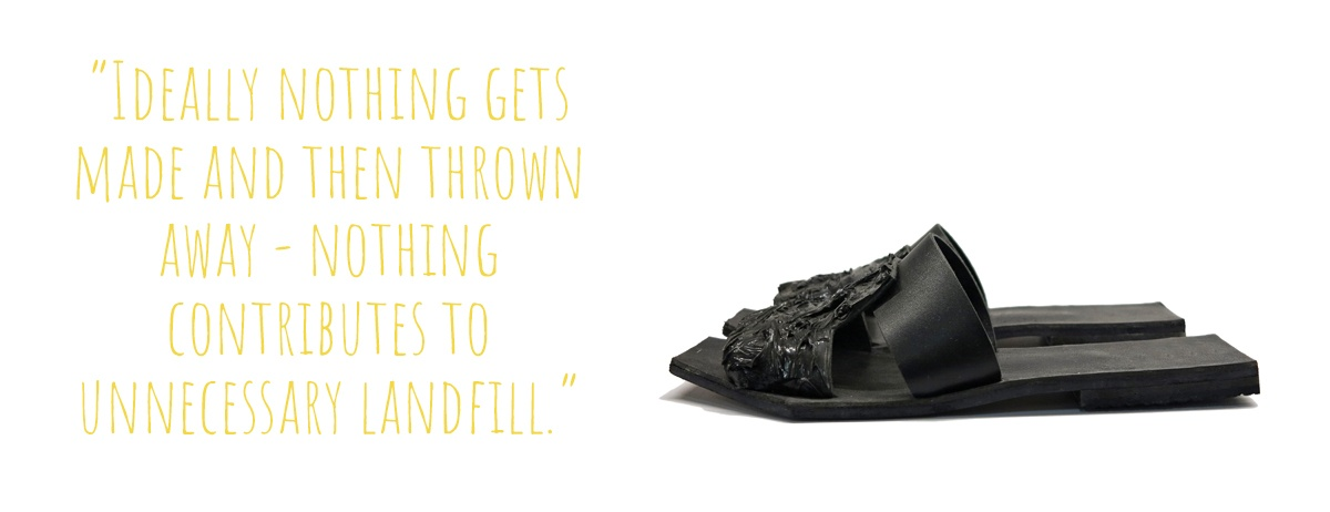 A pair of black flat sandals, Matea's early work: 'Ideally nothing gets made and then thrown away – nothing contributes to unnecessary landfill.'