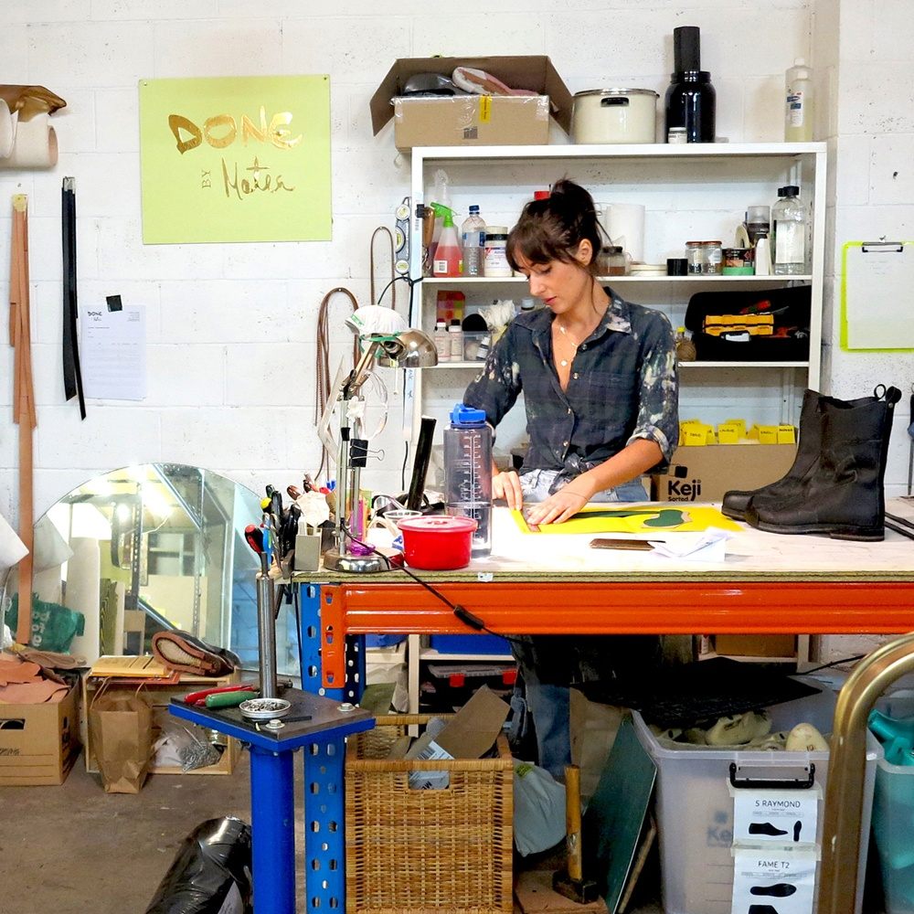 Solo artist, designer, jewellery and shoemaker, Matea, making shoes from her shared Adelaide studio at The Mill