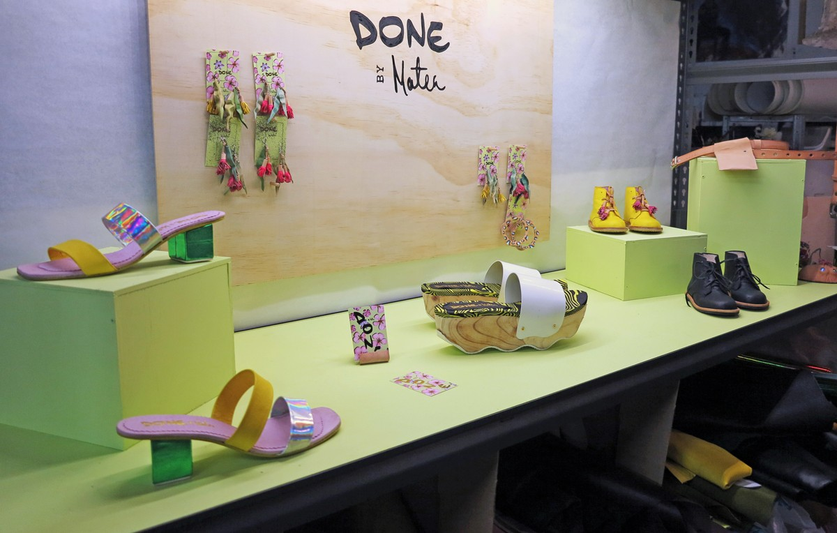 A display of Matea's handcrafted footwear and leather earrings in her Adelaide city studio at The Mill